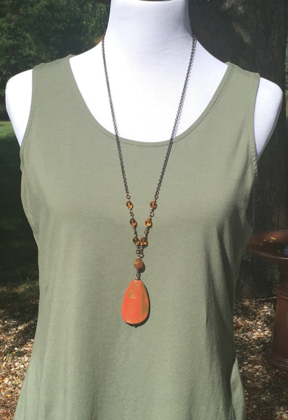 Very long necklace with Burnt Orange and gold Pendant Necklace