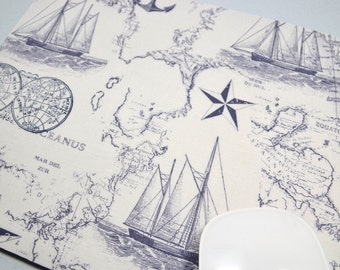 LAST ONE  Buy 2 FREE Shipping Special!!   Mouse Pad, Computer Mouse Pad, Fabric Mousepad         Nautical Maps