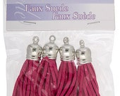 4 Pieces Faux Suede Tassel with Silver Cap  - Hot Pink 55mm (2760703)