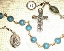 Holy Family, Locket, Holy Trinity, Seven Dolors, Sorrowful Mother,  Modern Tenner, Car rosary,  Turquoise