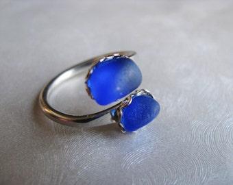 Double Sea Glass Ring - Beach Glass Ring - Cobalt Sea Glass - Beach Glass Jewelry