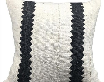 Vintage African White Mudcloth Pillow | CHARLIE