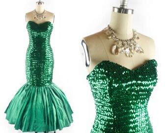 Vintage 80s MERMAID Prom Dress // Sequin Dress // Mermaid Dress // 1980s Prom Dress // Glamor Prom Gown - sz S - 27 Inch Waist