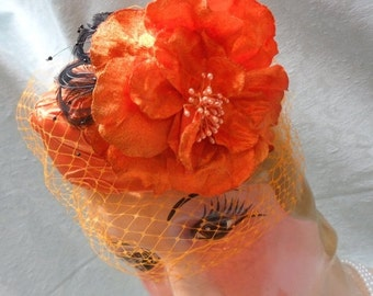 BIG Fall Sale 35% Off Pill Box HAT and Matching CLUTCH Purse Handmade Fall Halloween - Hat and Purse - Orange and Black
