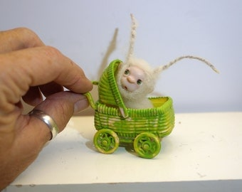ooak poseable new born baby bug fairy in a buggy   ( # 8 ) polymer clay art doll by DinkyDarlings elf pixie faery