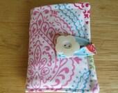 Tea Wallet in Pink, Aqua, Green, and Red Damask on White Tea Bag Holder