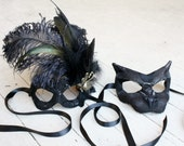 Black Swan and Black Panther Duo - Pair of Masquerade Masks