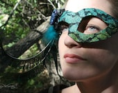 30% OFF! - Sheba ~ Asymmetrical Flapper Masquerade Mask in Pheasant and Peacock Feathers with Czech Glass Button