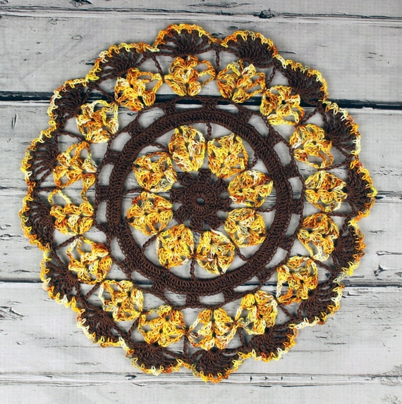 Crocheted Brown Yellow Gold Orange Hint of Sage Fall Table Topper Doily - 10 1/2""
