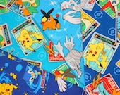 Pokemon fabric pikachu fabric scrap 25 cm by 25 cm or 9.6 by 9.6 inches each  (ns01)