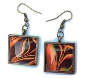 Square Dangle Earrings - Neon Earrings - Fire Earrings - Psychedelic Earrings - Fullamoon  - Birthday Gift - Gift for Her - Flame Earrings