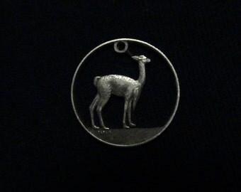 Peru Cut Coin Pendant - Alpaca or Llama - Brass - 1972