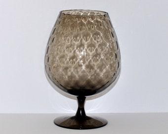 Vintage Murano Empoli Art Glass Diamond Optic Smoked Vase, circa 1960s