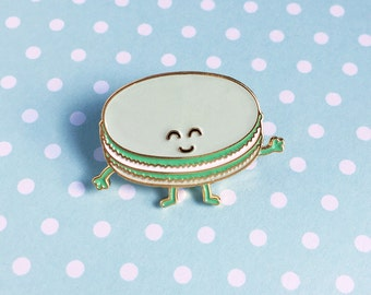 Macaron Green Enamel Pin - dessert french pastry food pastel lapel