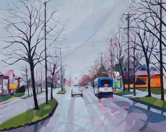 Archival print of oil painting titled SE Powell no. 1, Portland Oregon urbanscape