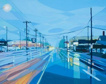 Archival print of oil painting titled SE 82nd no. 3, Portland Oregon urbanscape
