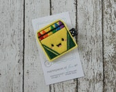 Crayon Box Felt Hair Clip - Rainbow Colors - School Hair Bows - School Clippies - Crayon Hairbow - Everyday Clippie with Non Slip Grip