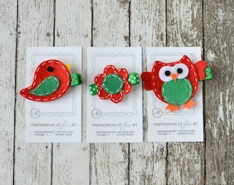 SPECIAL EDITION Christmas Hair Clip Sampler Set - red and green felt bird, flower and owl hair bows - holiday hairbow set - clippies