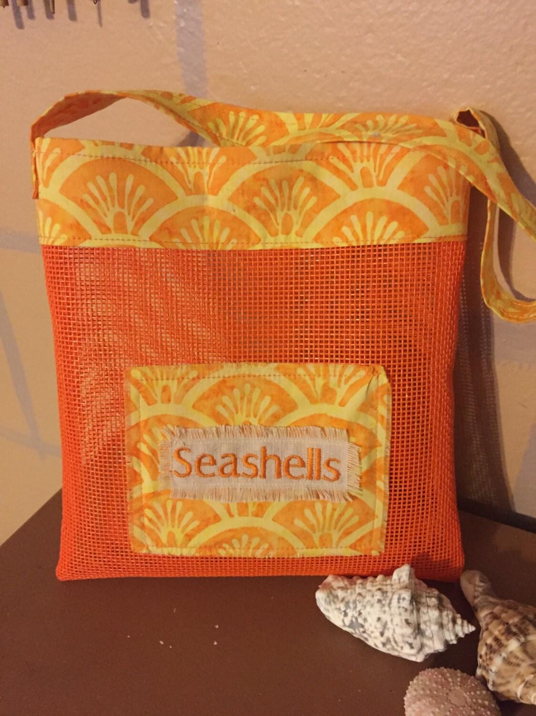 Usa made seashell collecting mesh bag for Bag of seashells for crafts