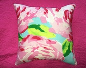 New Pillow made with Lilly Pulitzer Hotty Pink First Impression fabric, 2 sizes available