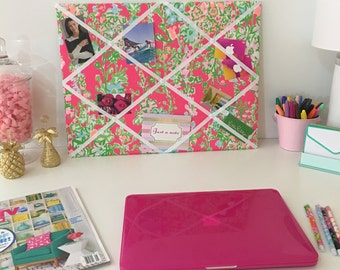 New memo board made with Lilly Pulitzer Pink Southern Charm fabric