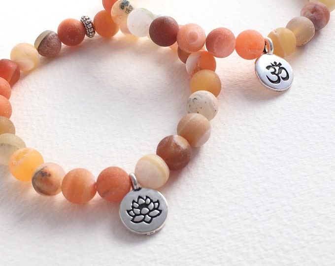 matte orange druzy agate mini mala stretch bracelet with customizable charm, orange beaded bracelet, gemstone bracelet , yoga jewelry,