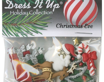 BUTTONS CHRISTMAS EVE Glitter button set of 7 Large