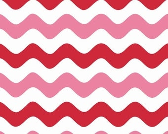 Clearance FABRIC Big WAVY VALENTINES Day Stripes  1/2 Yard