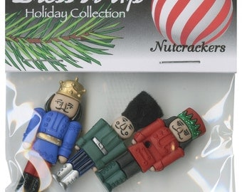 BUTTONS LARGE NUTCRACKERS set of 3 all different   We combine shipping