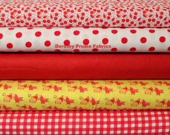 Clearance BUNDLE SUMMER PICNIC fabrics collection 1/2 of each fabric shown 5 different fabrics