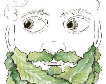 Lettuce Beard Vegetable Beard Leaf Beard Leaf Mustache Wall Art Lettuce Watercolor Beard Painting Beard Decor Art for Guy Green Beard Print