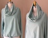 SALE Vintage Sea Foam Cowl Neck hoodie Blouse. Size L
