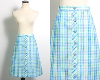 VTG 70's Seaside Plaid A Line Skirt (Medium) Schoolgirl Button Up Blue & Green Retro Side Pockets Vintage Tennis Golf Skirt