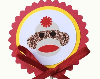 Sock Monkey Birthday Decoration Cake Topper - Red and Yellow or Your Choice of Colors