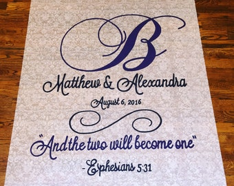 Handpainted Wedding Monogram Aisle Runner with Ephesians Quote (any size needed included up to 100 ft)