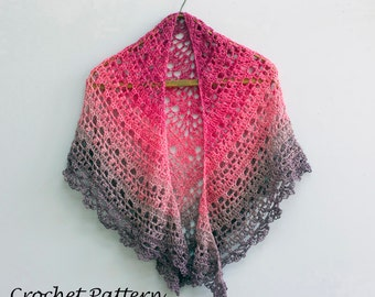 Color Block Lace Shawl Crochet Pattern, Bridal Shawl PDF Pattern, Digital Download, Crocheted Evening Wrap Pattern