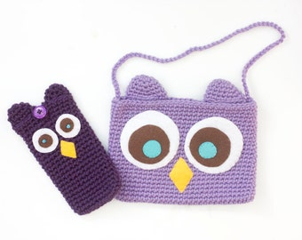 Crochet Owl Phone Case, Owl E-reader Case, Kindle Case, Owl Purse, Owl Ipad Mini Case, Little Girl's Purse, Custom Color, Child Phone Case