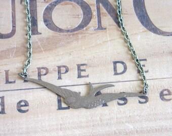 Brass Swallow Bird Necklace
