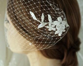 Birdcage veil, bandeau veil bridal headpiece,Bridal veil,hair piece, Bridal head piece, Lace birdcage fascinator