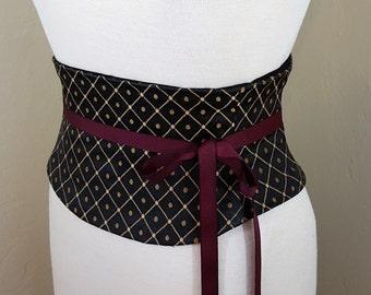 Corset Belt Gold and Black Lattice Waist Cincher Obi Belt Any Size