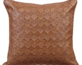 Decorative Throw Pillow Covers Accent Pillow Couch Leather Pillow Case 18x18 Tan Brown Faux Leather Pillow Cover Textured Tan Leather Weave