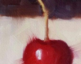 ACEO Original Oil Painting, Cherry, Easel Art, Wall Decor, Kitchen Art, Food Art, Small Format Art