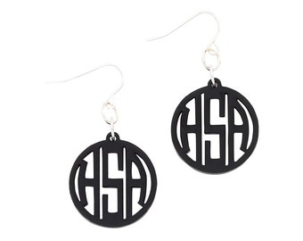 SALE-Acrylic Ava Monogram Earings Your Choice of Color and Font