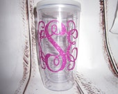 Glitter Monogrammed Tumbler 16oz Double Wall with Sip Lid