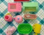 Vintage Japan Glico Lotte Licca Barbie Doll Kitchen Set Accessories