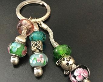 Beaded Key Chain, Key Ring, Key Fob, Key Holder, Long Key Holder, Key Holder, Green Beaded Key Chain