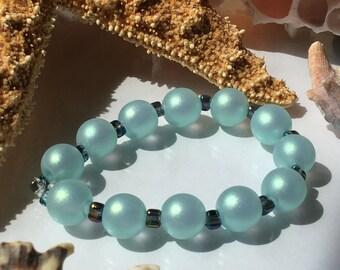 Aqua Green Shimmering Sea Pearls Handmade Lampwork Glass Beads SRA