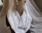 White Linen Blend Cowl/Circle Scarf/Infinity Scarf (5369)