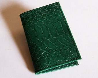 Green Leather Card Case - Faux Snakeskin Leather - Use for Credit Cards, Thin Wallet