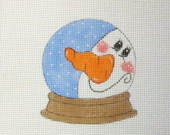 Old Fashioned Big Carrot Nose Snowman Snowglobe Handpainted Needlepoint Canvas